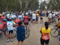 Rider and crew briefing at Echuca before the start